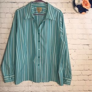 NWOT Westbound Gold Label striped button down top